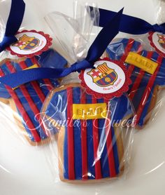 Cookies Barcelona t-shirt Messi Birthday, Soccer Birthday Cakes, Soccer Cake, Football Birthday, Barcelona Soccer Party, Barcelona Cake, 50th Party, 6th Birthday Parties, Football Cookies