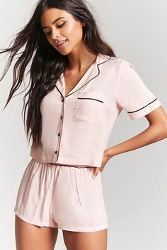 Product Name:Button-Front Pajama Top & Shorts Set Category:intimates_loungewear - Pajama Tops - ideas of Pajama Tops - Product Name:Button-Front Pajama Top & Shorts Set Category:intimates_loungewear Cute Sleepwear, Loungewear Set, Sleepwear Women, Pijamas Women, Womens Pyjama Sets, Womens Pjs, Jolie Lingerie, Sheer Lingerie, Pajama Outfits