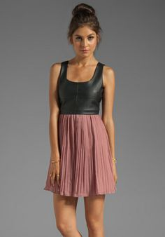 Jack by BB Dakota Elina PU and Crinkle Chiffon Dress in Black/Cashew Pink