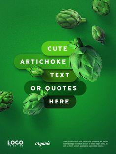 Green artichoke advertising floating banner Premium Psd Food Graphic Design, Food Poster Design, Creative Poster Design, Ads Creative, Creative Posters, Creative Advertising, Advertising Design, Ad Design, Exhibit Design