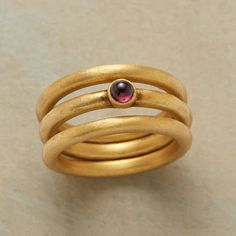 Garnet Triple Ring Set