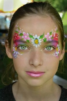 Pretty flowers Daisy face painting mask. This would be so cool as part of a flower fairy costume!