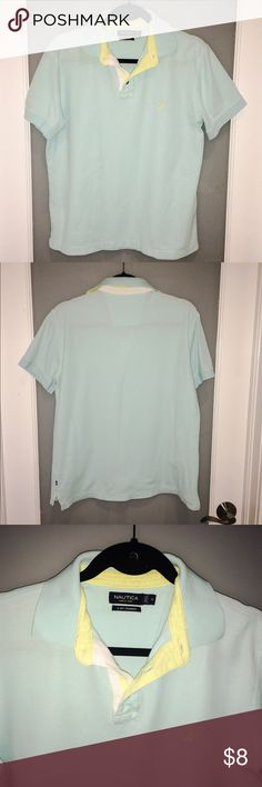Nautica mens polo shirt. Baby blue and yellow. Nautica Mens polo shirt in good condition. Baby blue and yellow. Size M. Nautica Shirts Polos