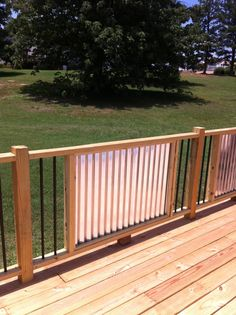 My new railings.  Corrugated Metal and metal balusters.  My husband is a genius!