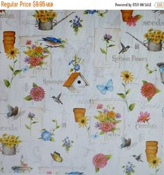 BLACK FRIDAY SALE Adalees Garden~Gardening~Floral Cotton Fabric, Quilt,~Red Rooster~Fast Shipping F571