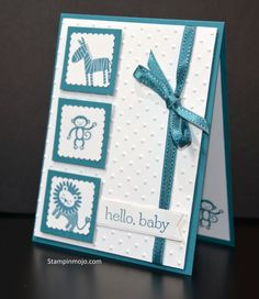 """This card was a fun way to celebrate the arrival of a colleague's new baby boy. The Zoo Babies stamp set is fun and whimsical. Whether you use Indigo Blue (as I did) or Daffodil Delight (yellow) or Pink Pirouette the result will be fun. This was a super easy card using my Postage Stamp punch and a 1 1/4"""" Square punch to create the boxes. The Perfect Dots embossing folder added texture and… Continue reading"""
