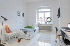 black and white apartment design 6 554x366 30 Beautiful & Modern Swedish Bedroom Designs