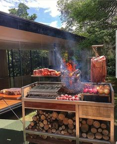 Backyard Bar, Backyard Landscaping, Masonry Bbq, Asado Grill, Covered Outdoor Kitchens, Campfire Grill, Bbq Places, Smoke Grill, Barbecue