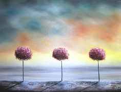 ORIGINAL Abstract Tree Oil Painting Pink and Blue by BingArt, $48.95
