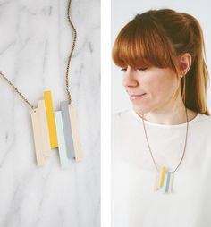 Parallel Line Balsa Wood Necklace