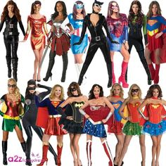 LADIES SUPERHERO SUPERHEROES ADULT LICENSED FANCY DRESS COSTUME WOMEN NEW  sc 1 st  Pinterest & Ideal for any superhero halloween or Batman and Catwoman themed ...