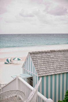 chic shingled blue & white cabana