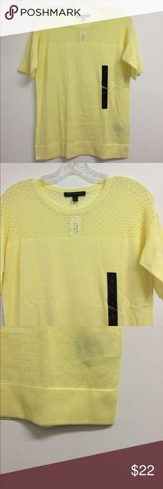 "Banana Republic Women's Yellow Blouse NWT small 50% 50% viscose. Yellow Crochet style Blouse. Pit to pit 18.5"". Length(mid shoulder to bottom hem) 23.5"". Sleeve (shoulder hem to end of sleeve) 7"".. It is from 01/16 Banana Republic Tops Blouses"