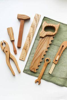 Handmade Wooden Tool Set Gives 7 meals - Kids toys - Handmade Baby, Handmade Toys, Diy Baby, Handmade Skirts, Baby Toy Storage, Lego Storage, Box Storage, Kids Toy Boxes, Montessori Baby Toys