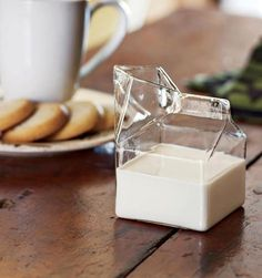 Glass Milk Carton    This is an artfully blown and molded glass creamer that captures the comforting familiarity of a mini milk carton, just like the ones Mrs. Fontaine used to pass out in the school cafeteria. Simple, elegant and whimsical.    Buy via Amazon (Best price): http://amzn.to/P1Sp1N