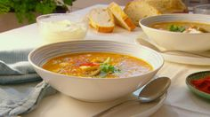 Karen creates a delicious winter soup using fridge staples and some left over roast chicken. Karen Martini Recipes, Winter Soups, Roast Chicken, Better Homes And Gardens, Chowder, Soup Recipes, Curry, Tasty, Ethnic Recipes