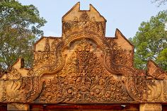 nice Pink sandstone carvings at Banteay Srei near Siem Reap, Cambodia