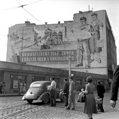 A giant socialist mural overlooking street in Bratislava, Czechoslovakia, Before The Fall, Photographer Portfolio, Magnum Photos, Bratislava, Mount Rushmore, Mountains, Country, Painting, Travel