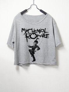 My Chemical Romance , crop top, grey color, women crop shirt, screenprint tshirt, graphic tee on Etsy, $14.99
