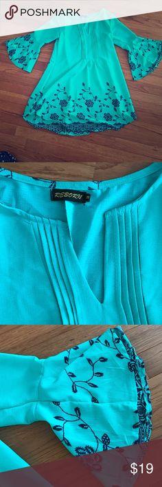 Mint bell sleeve dress Mint dress with navy stitch detail reborn Dresses Mini