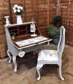 Solid oak antique writing bureau with Queen Anne chair. Upholstered in toile du joy - SOLD