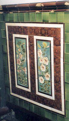 Victorian tiles in porch in Wolverhampton Porch Wall Tiles, Exterior Wall Tiles, Victorian Porch, Victorian Tiles, Minton Tiles, Rooftop Design, Unique Tile, Art Nouveau Tiles, Feature Tiles