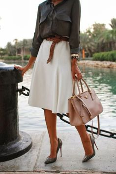 The Fierce Diaries Women fashion clothing outfit style white skirt belt watch handbag cream gray shirts heels summer beautiful casual   Glos...