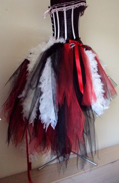 Black Red White Tulle Skirt Halloween Goth by thetutustoreuk