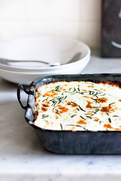"Rosemary Chicken ""Lasagna"" - - Chicken, whole milk ricotta, rosemary, spinach, mushrooms. I'm hungry!"