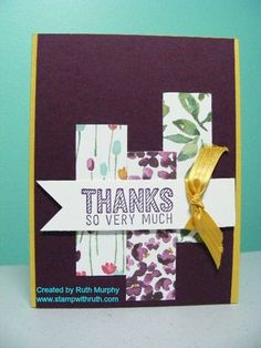 Simply Wonderful, Painted Blooms I love this free stamp set and the DSP is my favorite in the Occasions catalog. CAS card.