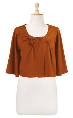 Bow Front Cropped Jacket by eShatki in Harvest Pumpkin $49.95
