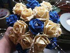 royal blue and pearl wedding themes   WEDDING-FLOWERS-BRIDES-MAIDS-BOUQUET-ROYAL-BLUE-GOLD-DIAMANTES-PEARL ...