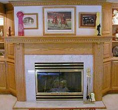 Oak and Marble Fireplace Surround