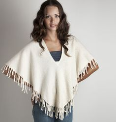 #Poncho #wool felt with #tassels and #fringes