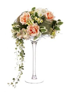 Artificial 60cm Coral Rose, Coral and Cream Hydrangea and Mixed Foliage Display in a Tall Martini Glass Vase (D012WPDG) from Artplants.co.uk #rose #hydrangea #artificialflowers #artificialrose #artificialhydrangea #weddingflowers