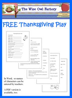 Thanksgiving Day Play Word Doc, FREE  and here is the same play in a PDF: Thanksgiving Day Play free PDF