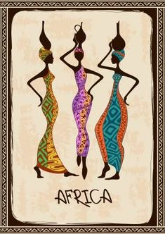 Illustration about Vintage illustration with three beautiful slim African women in colorful ethnic patterned dresses. Illustration of grace, brown, dress - 34898338 Pintura Tribal, Wal Art, Beautiful African Women, Afrique Art, African Quilts, African Art Paintings, Art Premier, Ethnic Patterns, Black Women Art