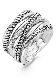 Ti Sento Milano Ring van gerhodineerd sterling zilver 12066ZI • de Bijenkorf