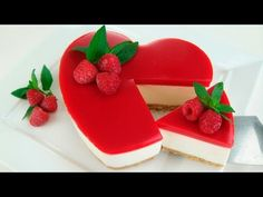 TARTA DE GELATINA Y QUESO SAN VALENTÍN ( Cheesecake sin horno ) # 338 # - YouTube