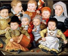 Jacob Seisenegger (Austrian painter, 1504–1567) Portrait of a Mother and Her 8 Children    Oh that poor woman. . .  Really great examples of a baby rattle with wolf's tooth, drum, stick horse, and a woven straw rattle