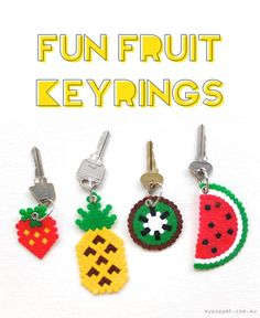DIY perler bead crafts - Fun Fruit Keyrings - Cute Accessories and Homemade Decor That Make Creative DIY Gifts - Plastic Melted Beads Make Cool Art for Walls, Jewelry and Things To Make When You are Bored Perler Bead Designs, Diy Perler Bead Crafts, Diy Perler Beads, Perler Bead Art, Hama Beads Kawaii, Pearler Beads, Diy Presents, Diy Gifts, Keychain Diy