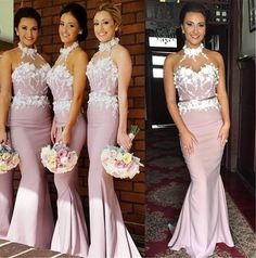 New Arrival Mermaid Halter Cheap Long Bridesmaid Dress with Appliques