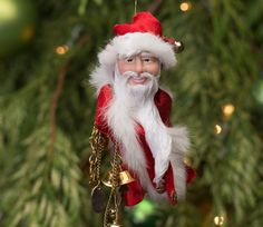 Santa Claus Hanging Ornament Handmade Christmas by kenfolks