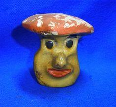 Vintage German Art Pottery Mushroom for Yard Garden Outdoor Gnome #^