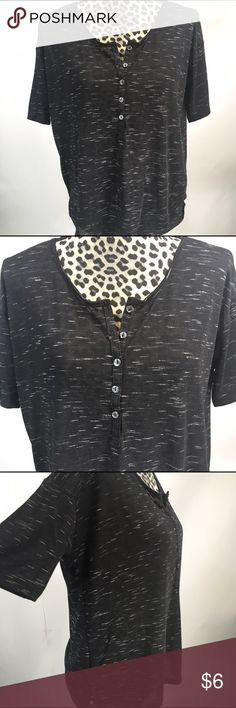 """Old Navy Henley T-shirt Old Navy Henley T-shirt;  5- Button; 23"""" Length, 42"""" Bust; Loose Fit on the Body- Fitted in the Sleeves; Black with Faint Strokes of White Old Navy Tops"""
