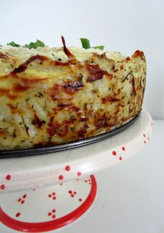 quiche with hashbrown crust -- most amazing breakfast recipe ever! LOVE LOVE LOVE the hashbrown crust--would bake it a bit longer for more crispiness next time (also need something to better get out the liquid).