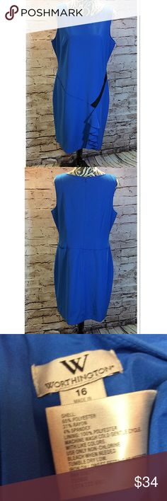 SZ 16 WORTHINGTON DRESS Beautiful dress in blue with black to give a contrast. Gently used. Zips in the back Worthington Dresses Midi