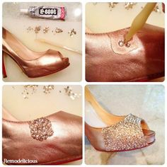 Distracted by shiny objects – remodelicious | How to bling out your shoes like Christian Louboutin!
