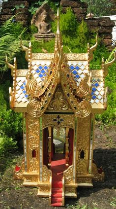24kt Gold Leaf Thai Teak Wood Spirit House I used to have one almost exactly like this. You see these everywhere.