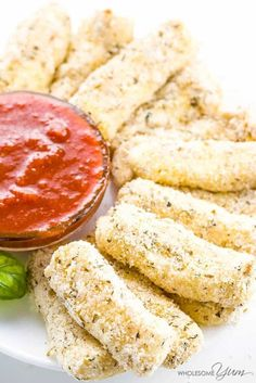 This gluten-free, low carb mozzarella sticks recipe is super easy made with just 6 ingredients. They make a healthy appetizer everyone will love!